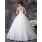 White Satin Ball Gown Wedding Dress