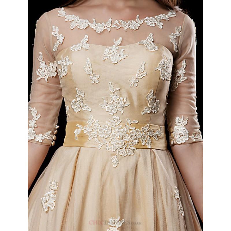 Aline Petite  Plus Sizes Wedding Dress  Champagne Knee