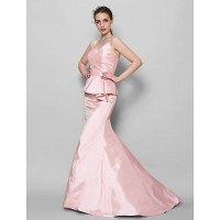 Sweep/Brush Train Taffeta Bridesmaid Dress - Pearl Pink ...