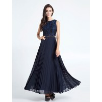Ankle-length Chiffon / Lace Bridesmaid Dress - Dark Navy ...