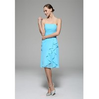 Knee-length Chiffon Bridesmaid Dress - Ocean Blue Sheath ...
