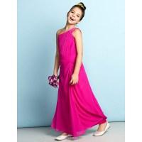 Ankle-length Chiffon Junior Bridesmaid Dress - Fuchsia ...