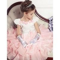 Ball Gown Tea-length Flower Girl Dress - Cotton / Tulle ...