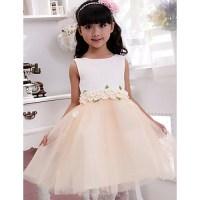 Ball Gown Tea-length Flower Girl Dress - Cotton Sleeveless ...