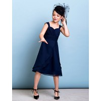 Knee-length Chiffon Junior Bridesmaid Dress - Dark Navy A ...