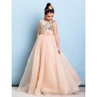 Floor-length Organza / Sequined Junior Bridesmaid Dress ...