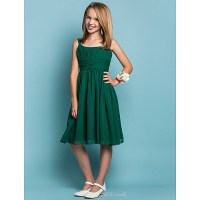 Knee-length Chiffon Junior Bridesmaid Dress - Dark Green ...