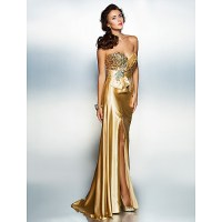 Dress - Gold Petite Sheath/Column Sweetheart Floor-length ...