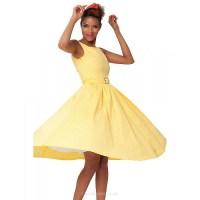 Tea-length Cotton Bridesmaid Dress - Yellow A-line Bateau ...