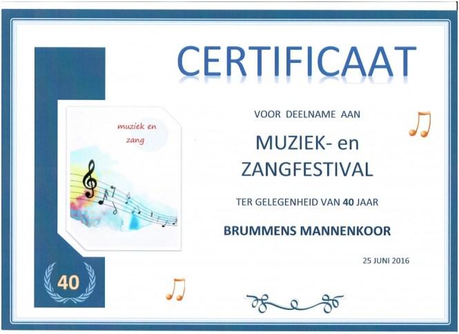 certificaat festivalbrummens mannenkoor