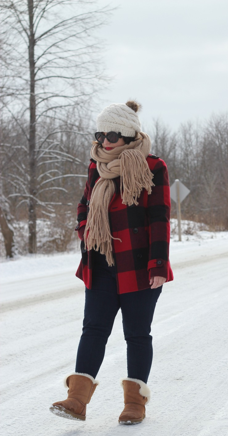 buffalo plaid outfit, buffalo check coat