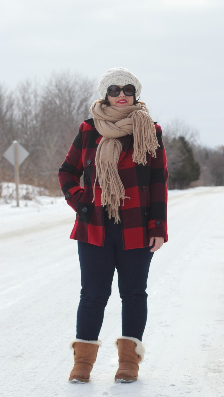 buffalo plaid outfit, buffalo plaid pea coat
