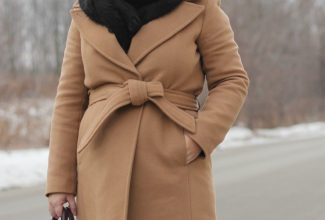 long camel coat, mackage babie
