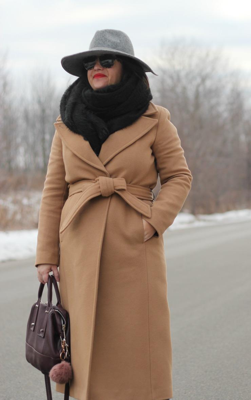 long camel coat, mackage babie