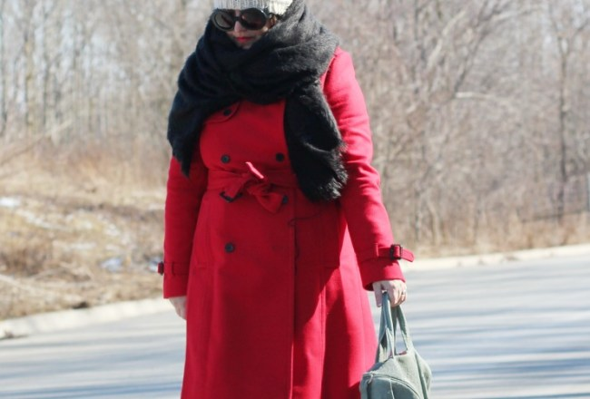 red jcrew icon trench wool