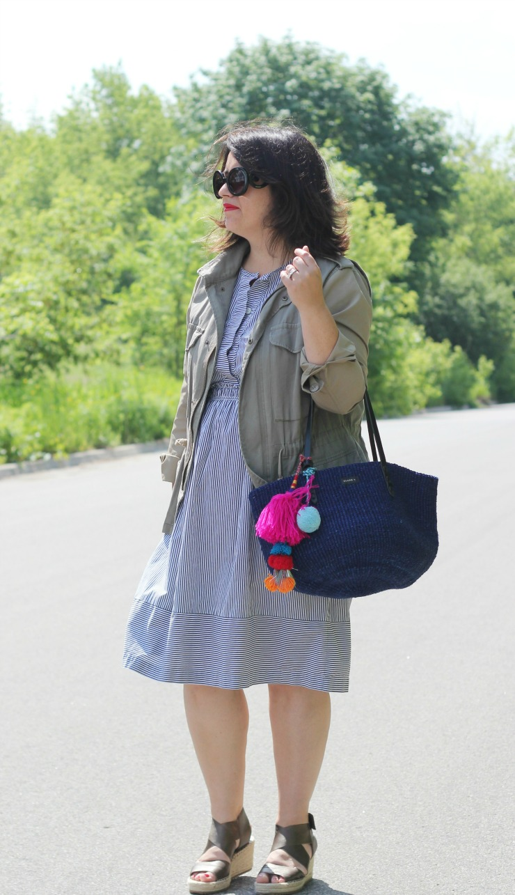 field jacket stripe dress