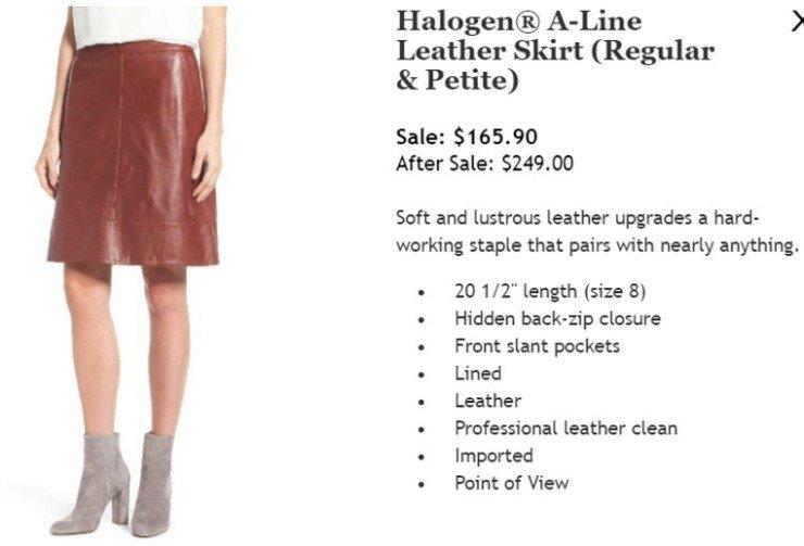 leather skirt nordstrom sale