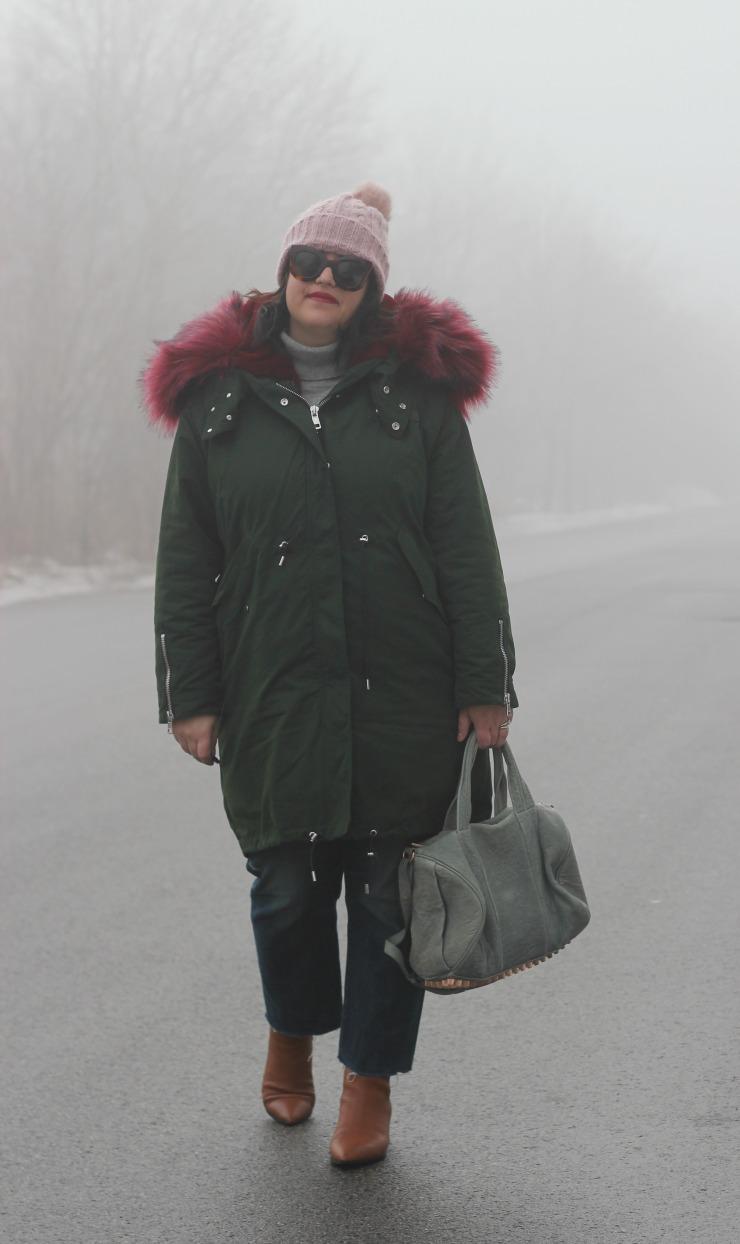 winter parka outfit, faux fur parka style