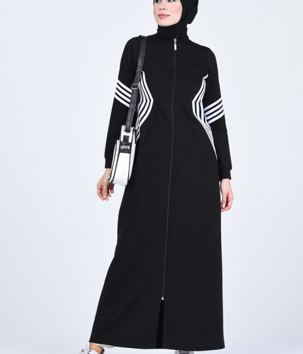 Sporty Style Abaya With Pockets - Black