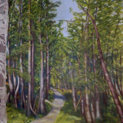 Through the woods - oil - 660mm by 920mm - by Patricia Flint