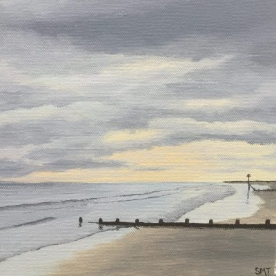 Cloudy Afternoon on Wittering Beach - Acrylic - 20 x 20cm - by Sheila Threadgill