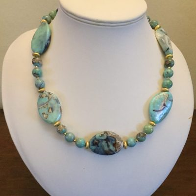 Jan Culverwell No. 2. Rare Larimar Necklace - Jewellery - 20 inches - by Jan Culverwell