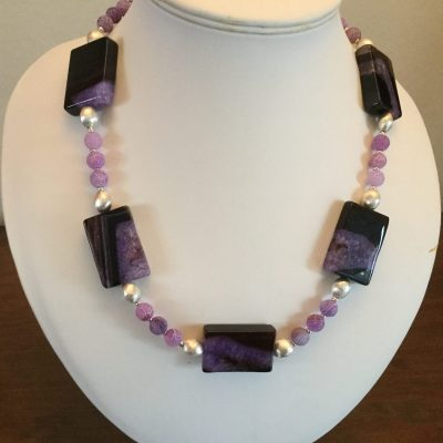 Jan CulverwellNo 1. Purple and Black Druzy Agate Necklace - Jewellery - 20 inches - by Jan Culverwell