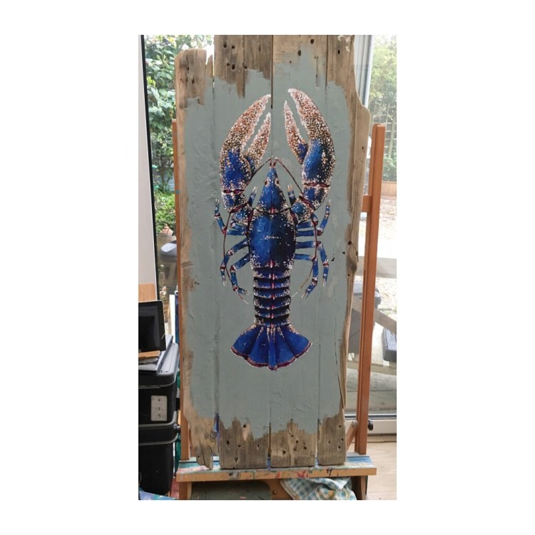 Large Blue Lobster Study 29 - Acrylic paint on reclaimed wooden boards