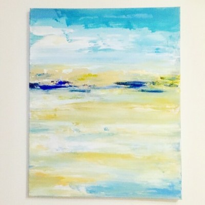 Low Tide - Acrylic and gold leaf on canvas - 24 x 30 inches - by Rebecca Hopkins
