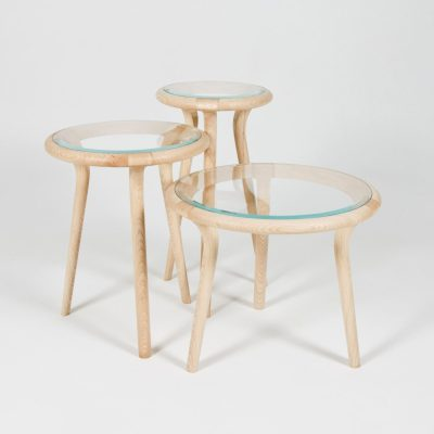 Chichester Tables - Ash and glass. - 33cm (diam) x 63cm (h) – Medium: 43cm (diam) x 53cm (h) – Short: 53cm (diam) x 43cm (h) - by Edward Johnson