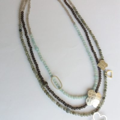 Silver necklace - silver/gemstones - 60cm - by Gael Emmett