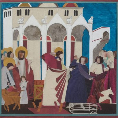 TRANSCRIPTION:  GIOTTO  CHRIST DRIVING OUT THE TRADERS FROM THE TEMPLE 2018 - Collage on paper