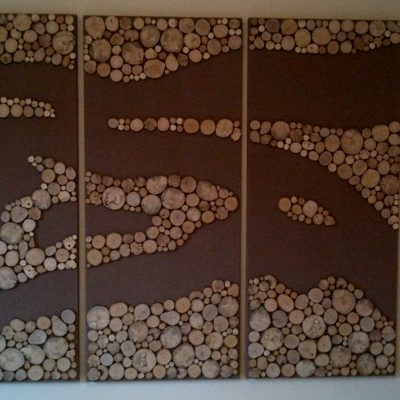 wall art - wood on hessian (painted) - 155 W x 115 H cms - by Mark Porter