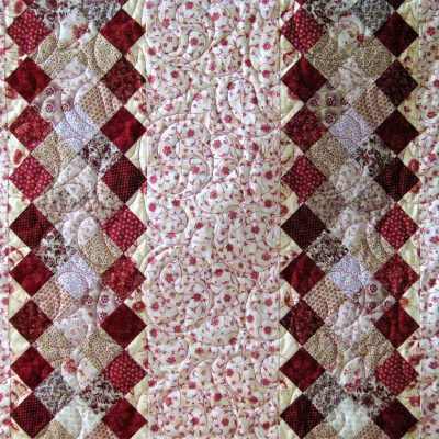 Red strippy quilt - Fabric - 1.8 m x 1.8 m - by Sue Mapley