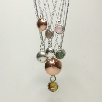 Silver and gemstone Orbs - Silver - Pendants - by Rebecca Rose