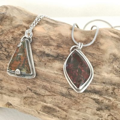 Autumnal themed pendants - Silver and gemstones. - Pendants - by Rebecca Rose