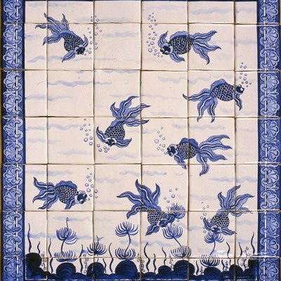 Chinese Gold fish in blue - Ceramic tiles - 70cm x 60cm - by Jonathan Waights