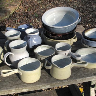 Dishes and jugs - stoneware - by Malcolm Macdonald