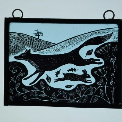 Autumn chase. - stained glass - 128mm x 97mm - by Karen Boxall