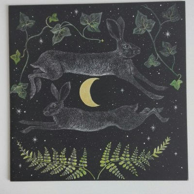 Hares and silver moon. - scraperboard - 203mm x 203mm - by Karen Boxall