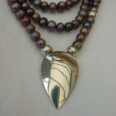 Pearl  necklace with pendant clasp - Black, freshwater pearls with sterling silver - Long - by Collette Batho