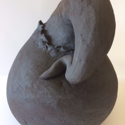 Seed Pod 3 (2019) - High Fired Black Grogged Stoneware - Approx: 78cms H, 50cms W - by Annie Flitcroft