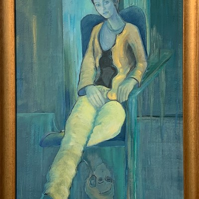 The Girl in the Yellow Trousers - Oil on board - H = 33 inches x W = 24 inches - by Susan Hadley