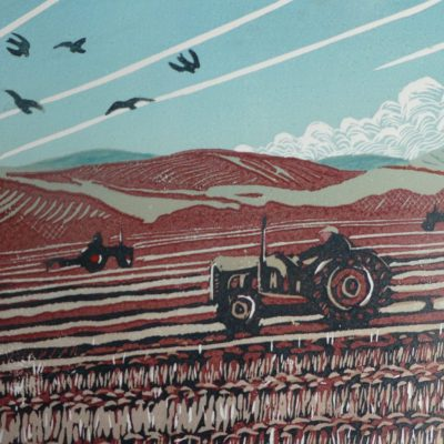 The Ploughing Match - Lino Print - 45cms x 34cms - by Angela Benwell