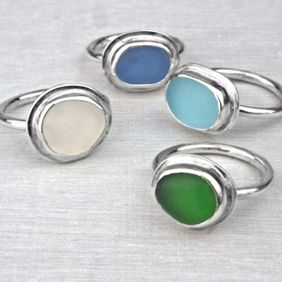 Sea-Glass Rings - Sterling Silver - Varying - by Tia Rolfe
