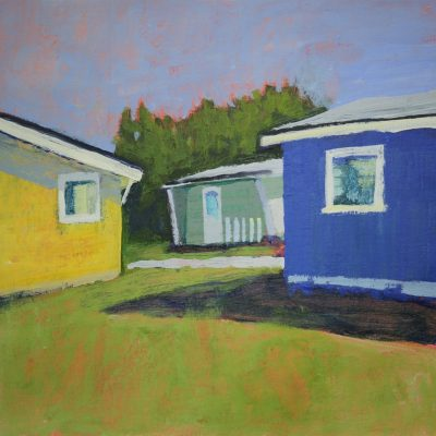 Towans - Acrylic on paper mounted on board - 20cm x 20cm - by Laura Fletcher