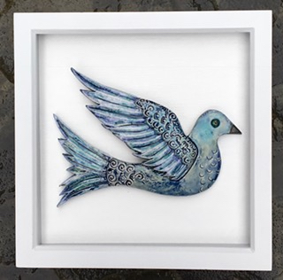 Framed bird - Ceramics - 22cm x 22cm - by Tracey Lodge