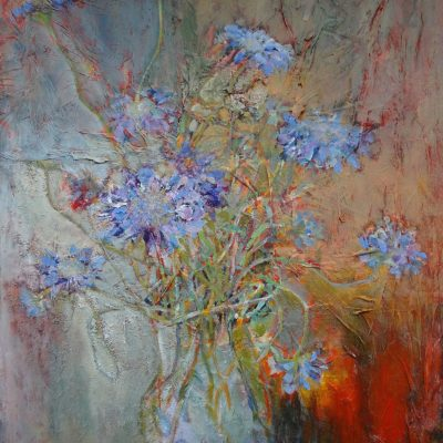 Scabius - mixed media on canvas - 50 x 70cm - by Rachel Baylis