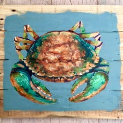 Study of green Crab no 4 - Acrylics paints on reclaimed wood boards - 40 by 40 cms - by Andrew Lean