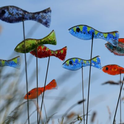 Shoal of fused glass fish - Glass - 1m - by Karen Ongley-Snook